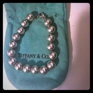 "Tiffany Silver ball bracelet 7"" 10mm"
